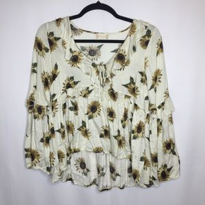 Altar'd State Sunflower bell sleeve blouse large